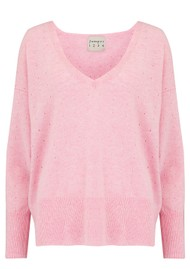 JUMPER 1234 Holy Vee Cashmere Sweater - Pink Marl