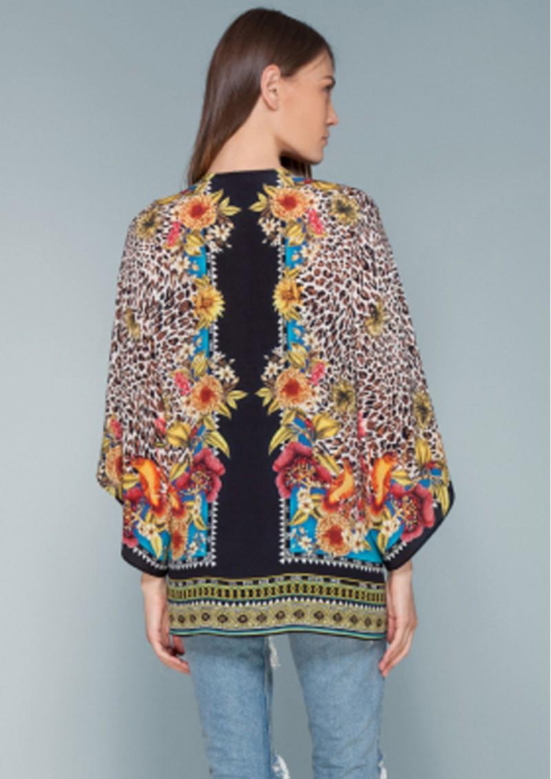 Hale Bob Henriette Leopard Silk Kimono - Brown main image
