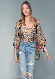 Hale Bob Henriette Leopard Silk Kimono - Brown