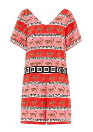 HAYLEY MENZIES Leopardess Short Jumpsuit - Pink & White