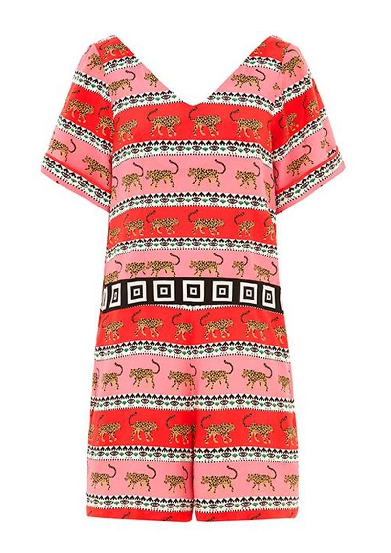 HAYLEY MENZIES Leopardess Short Jumpsuit - Pink & White main image