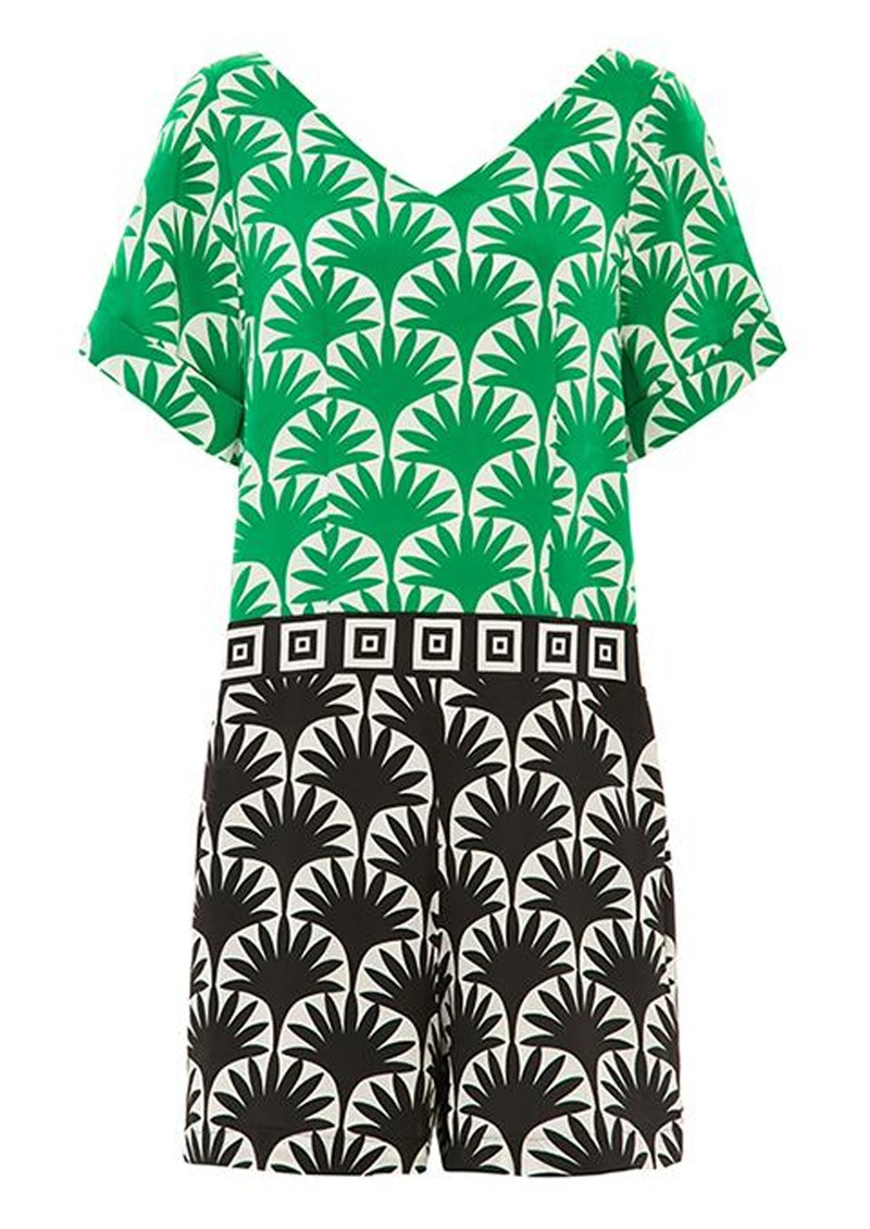 HAYLEY MENZIES Marrakesh Short Jumpsuit - Black & Green main image