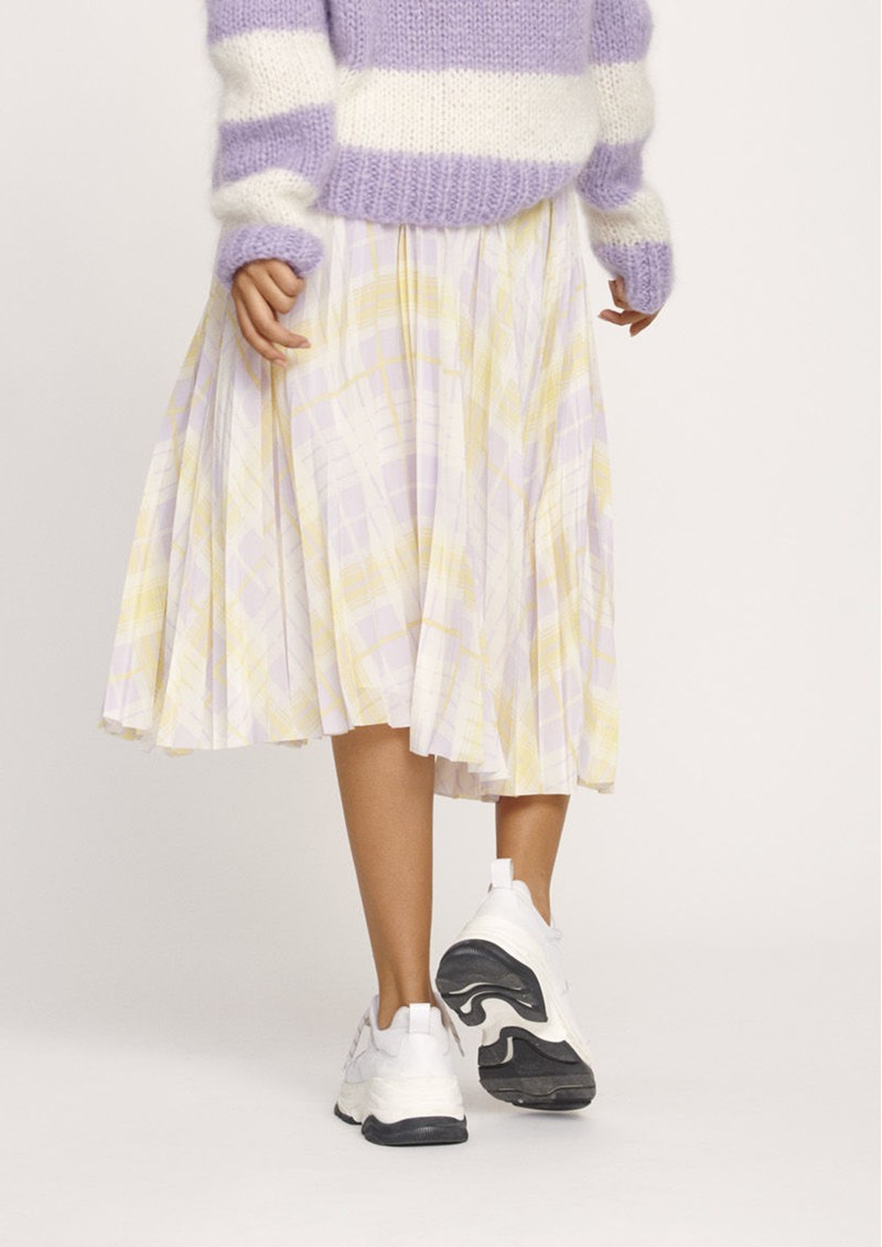 Juliette Pleated Midi Skirt - Check Me Out main image