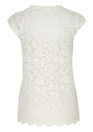 Rosemunde Delicia Short Sleeve Lace Top - Ivory Silver