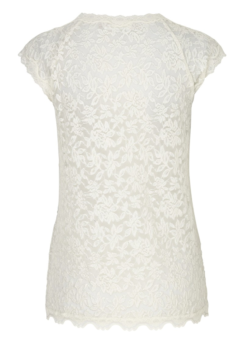 Delicia Short Sleeve Lace Top - Ivory Silver main image