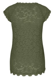 Rosemunde Delicia Short Sleeve Lace Top - Burnt Olive