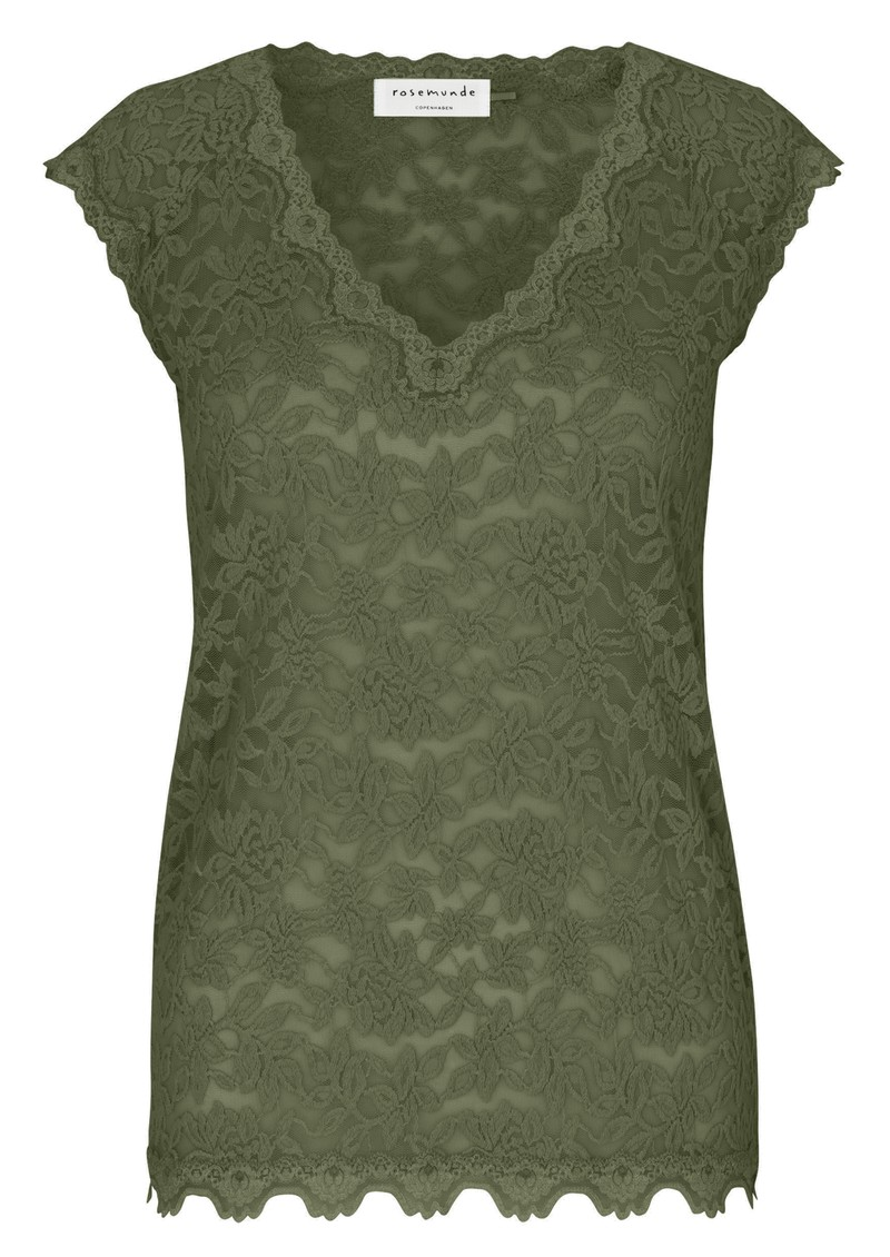 Rosemunde Delicia Short Sleeve Lace Top - Burnt Olive main image