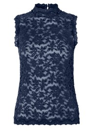 Rosemunde Delicia Sleeveless High Neck Top - Navy Peony