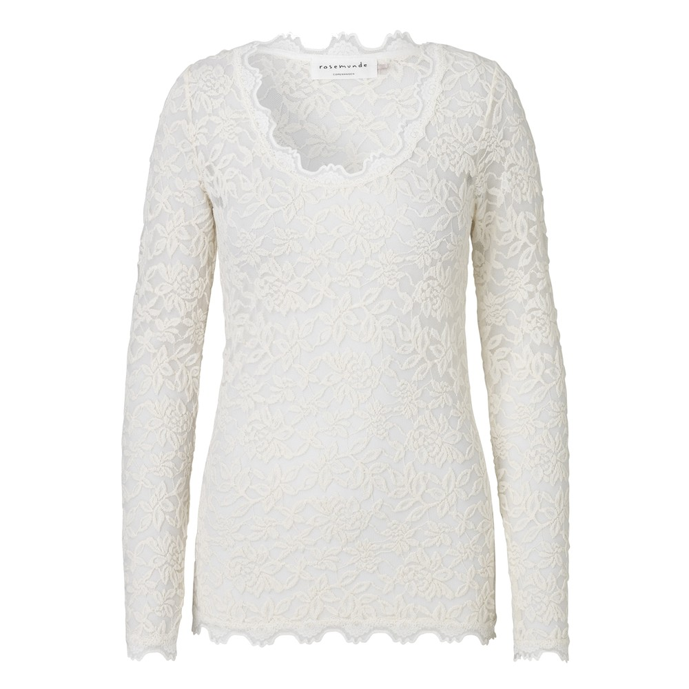 Delicia Long Sleeve Lace Top - Ivory Silver