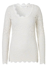 Rosemunde Delicia Long Sleeve Lace Top - Ivory Silver