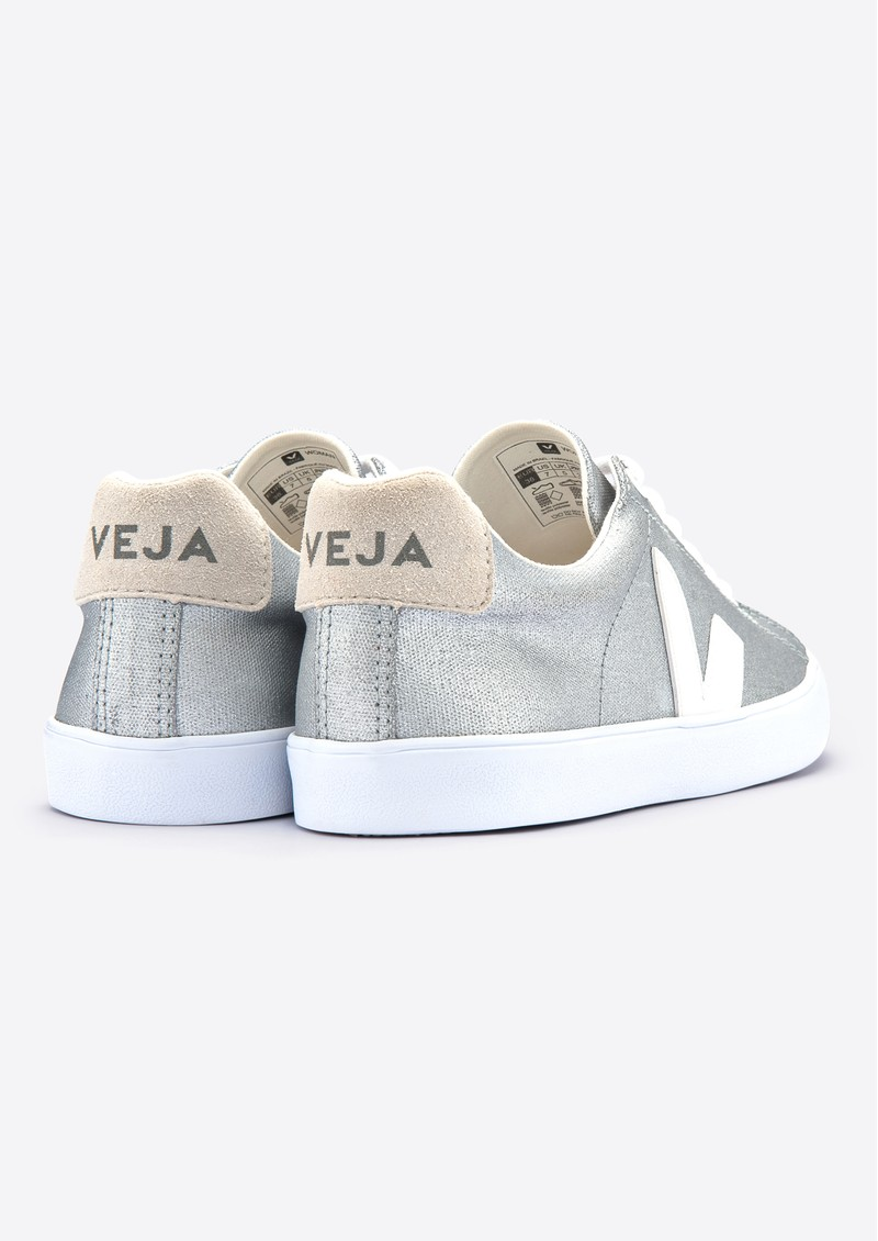 VEJA Esplar SE Canvas Trainers - Silver, White & Natural main image