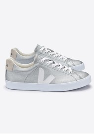 VEJA Esplar SE Canvas Trainers - Silver, White & Natural