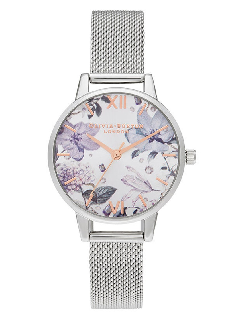 Olivia Burton Bejewelled Florals Silver Glitter Midi Dial Watch - Rose Gold & Silver Mesh main image