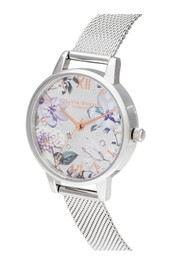 Olivia Burton Bejewelled Florals Silver Glitter Midi Dial Watch - Rose Gold & Silver Mesh