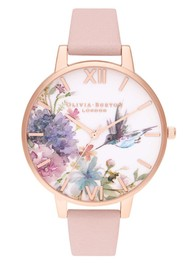 Olivia Burton Painterly Prints Big Dial Watch - Dusty Pink & Rose Gold