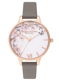 Olivia Burton Pretty Blossoom Demi Dial Watch - London Grey & Rose Gold