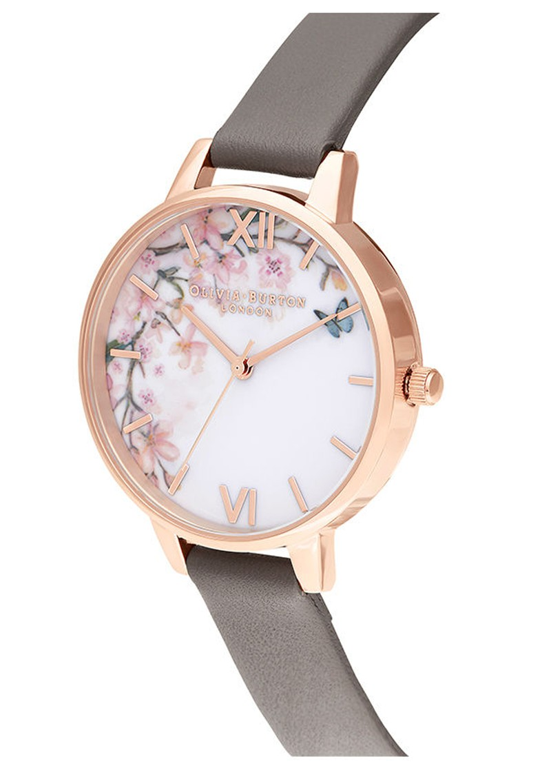 Olivia Burton Pretty Blossoom Demi Dial Watch - London Grey & Rose Gold main image