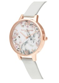 Olivia Burton Bunny Vegan Friendly Demi Dial Watch - Grey & Rose Gold
