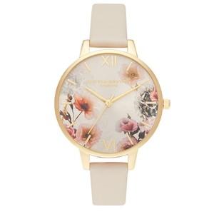 Sunlight Florals Vegan Friendly Big Dial Watch - Nude & Gold