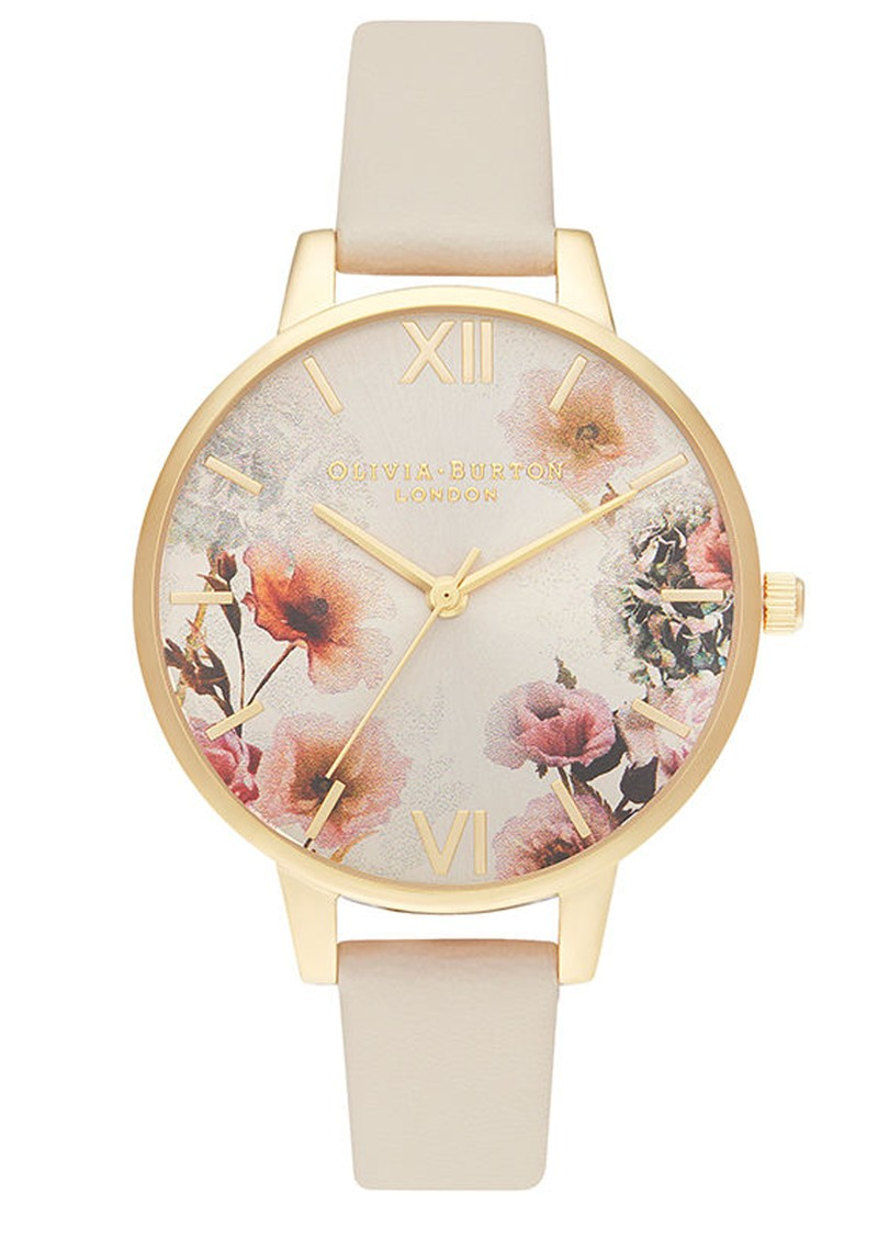 Sunlight Florals Vegan Friendly Big Dial Watch - Nude & Gold main image