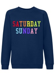 ON THE RISE Saturday Sunday Rainbow Sweater - Navy