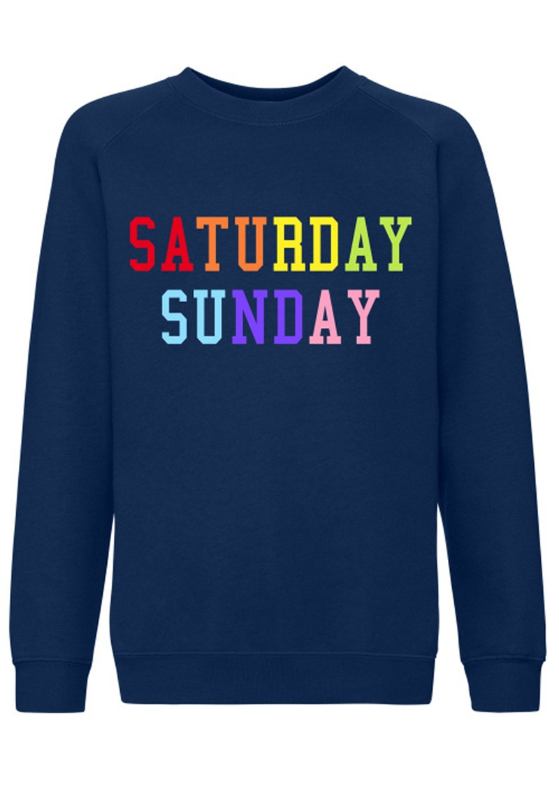 ON THE RISE Saturday Sunday Rainbow Sweater - Navy main image