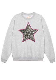 ON THE RISE Leopard Star Jumper - Grey & Pink
