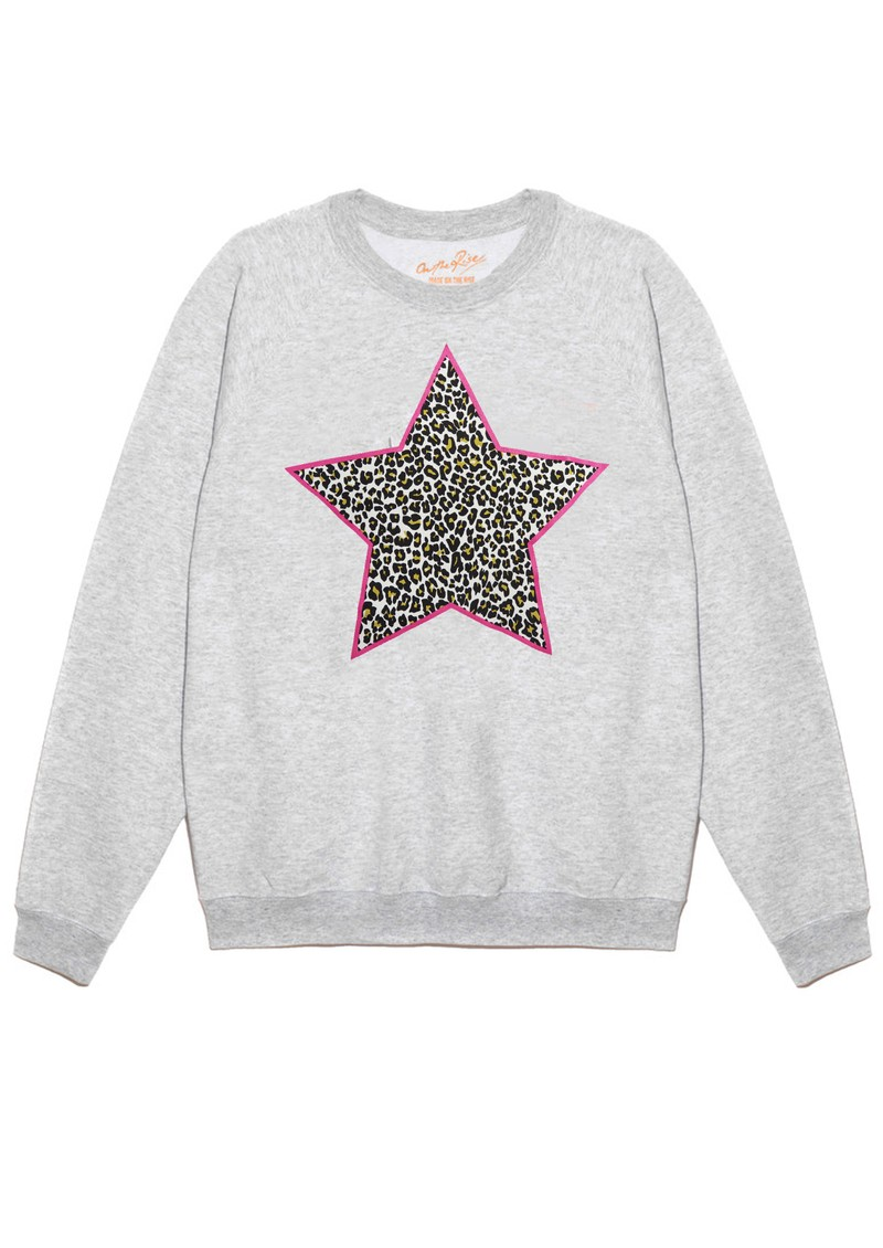 ON THE RISE Leopard Star Jumper - Grey & Pink main image