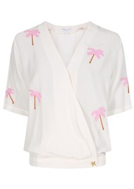 FABIENNE CHAPOT Vera Palm Tree Embroidered Top - Off White