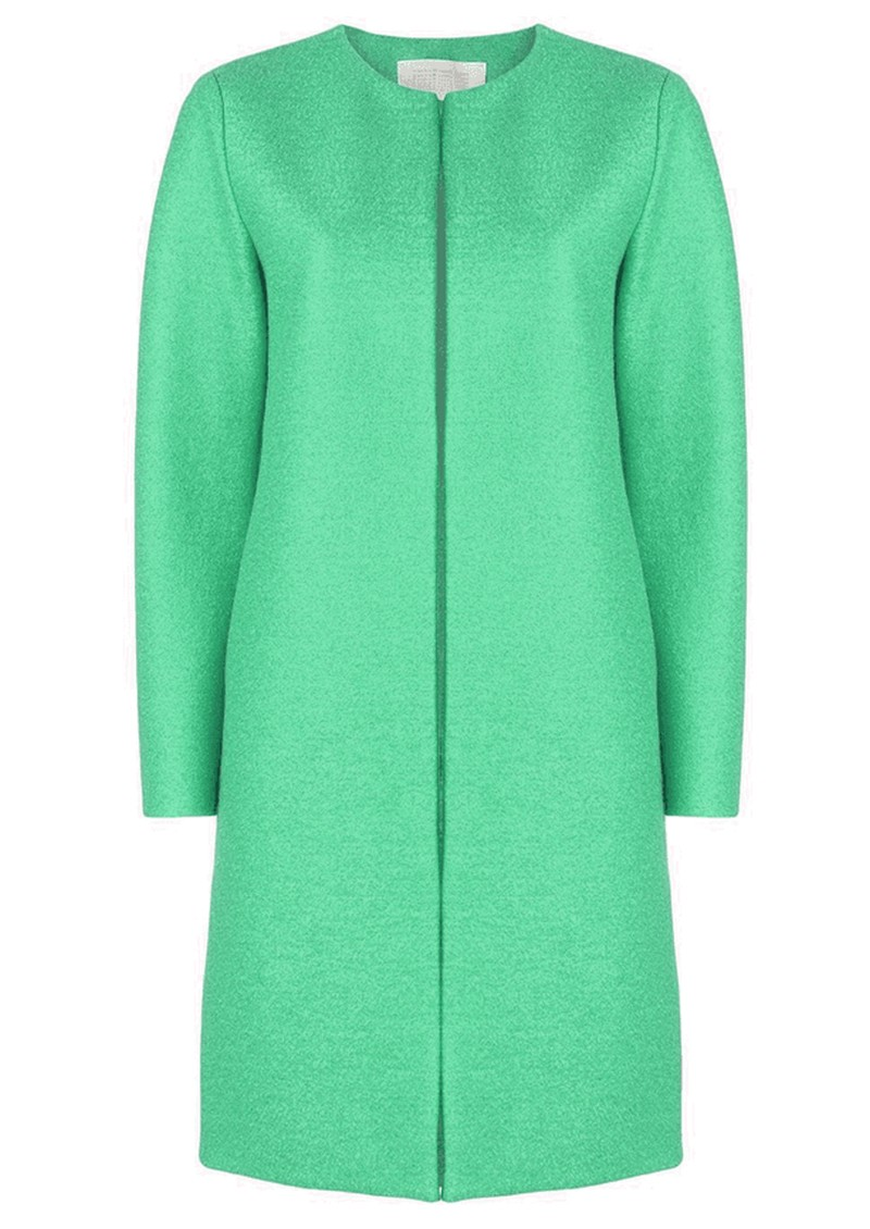 HARRIS WHARF Collarless Coat - Jade main image