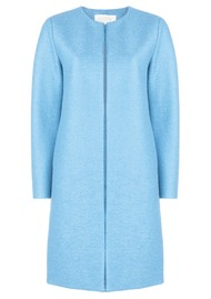 HARRIS WHARF Collarless Coat - Baby Blue