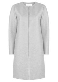 HARRIS WHARF Collarless Coat - Cloud