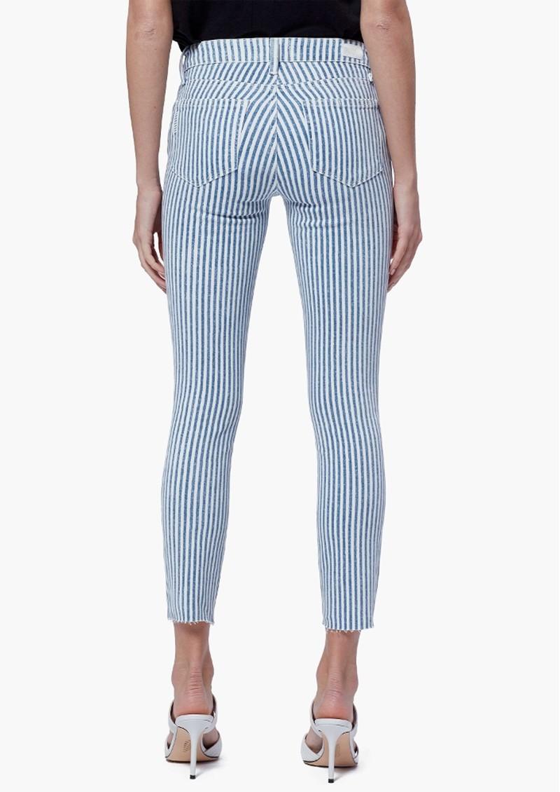 Paige Denim Verdugo Crop Raw Hem Skinny Jeans - Sky Blue Stripe main image