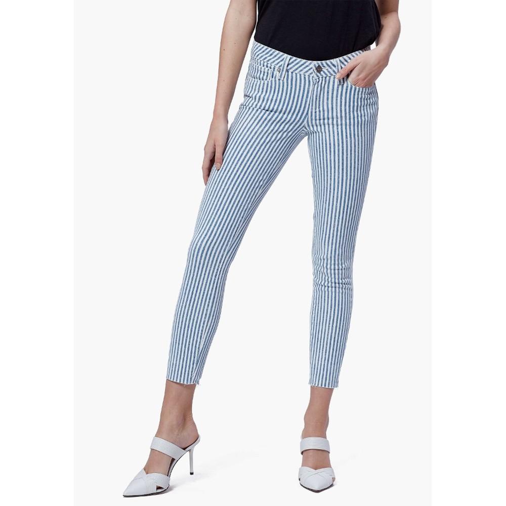 Verdugo Crop Raw Hem Skinny Jeans - Sky Blue Stripe