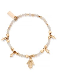 ChloBo Splendid Star Five Days of Luck Bracelet - Gold & Pink Opal