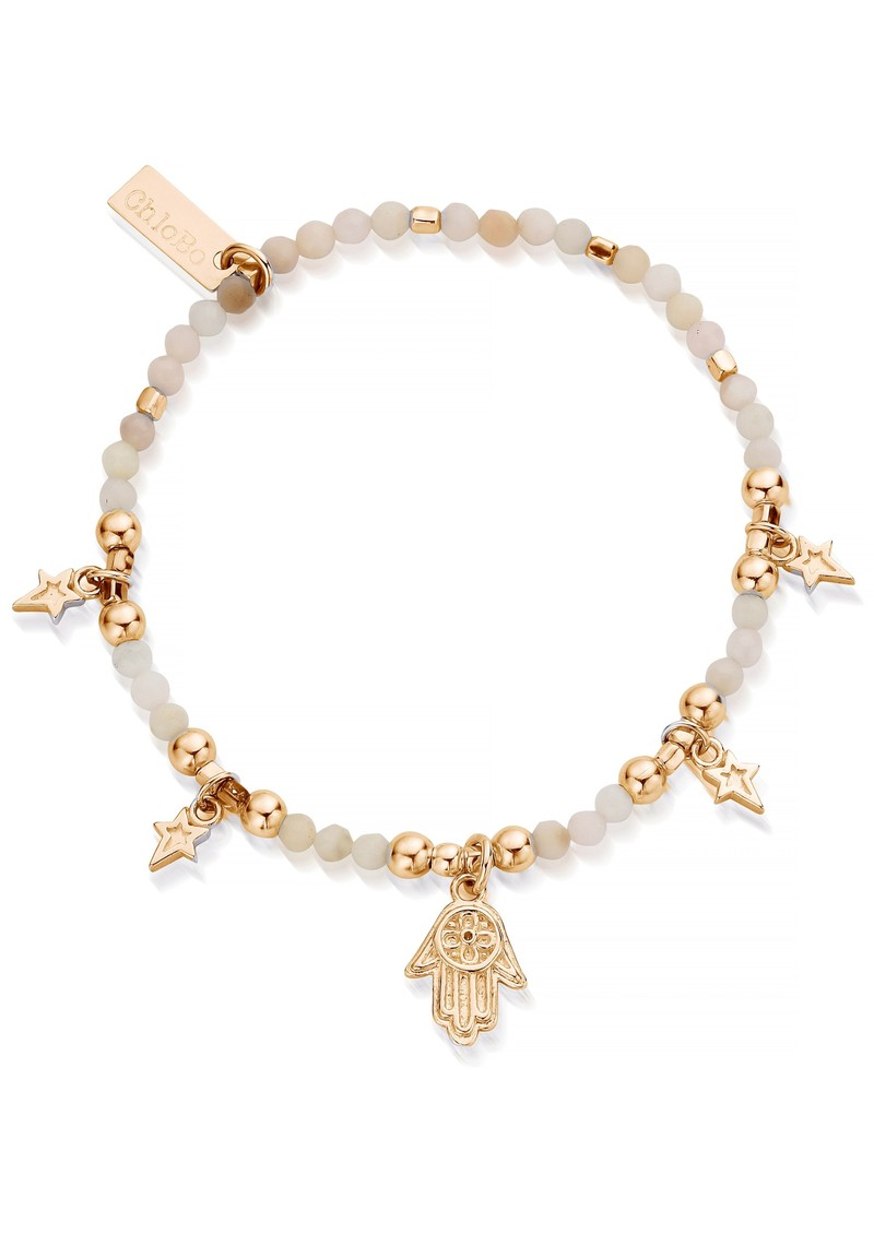 ChloBo Splendid Star Five Days of Luck Bracelet - Gold & Pink Opal main image