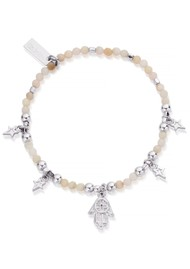 ChloBo Splendid Star Five Days of Luck Bracelet - Silver & Pink Opal