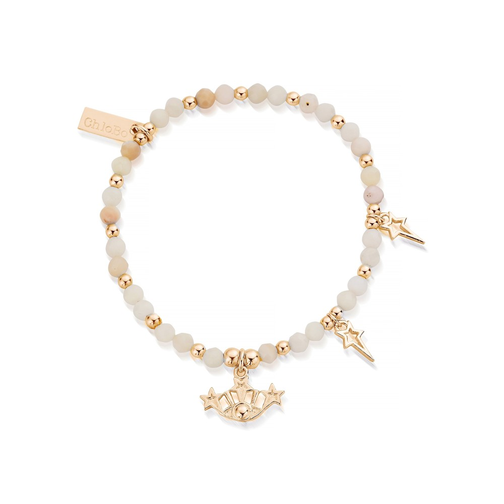 Splendid Star Three Days of Luck Bracelet - Gold & Pink Opal