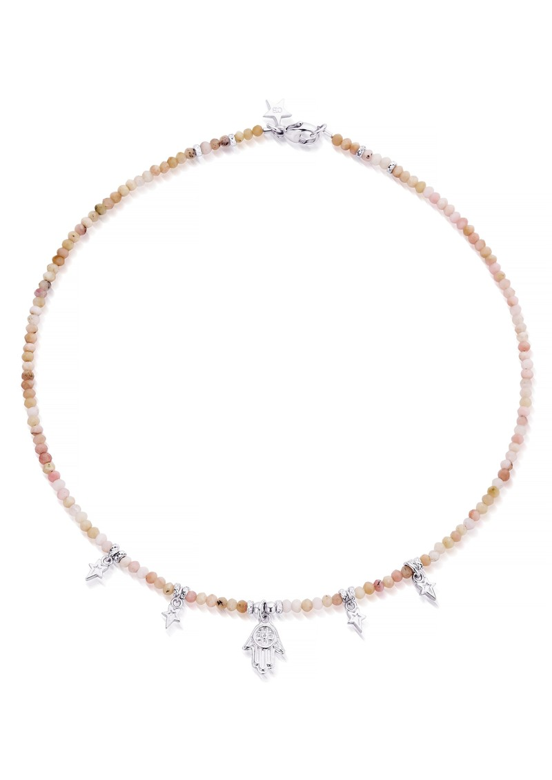 ChloBo Splendid Star Five Days Of Luck Necklace - Silver & Pink Opal main image