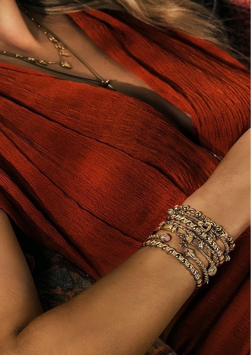 ChloBo Splendid Star Divine Destiny Bangle - Gold & Pink Opal main image