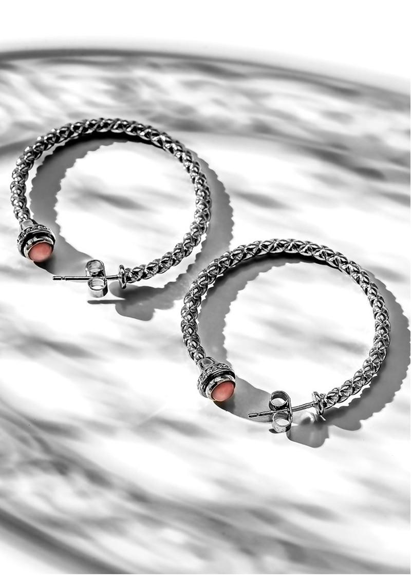 ChloBo Splendid Star Divine Destiny Hoop Earrings - Silver & Pink Opal main image