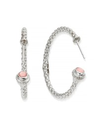 ChloBo Splendid Star Divine Destiny Hoop Earrings - Silver & Pink Opal