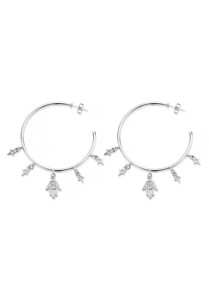 ChloBo Splendid Star Five Days Of Luck Hoop Earrings - Silver main image
