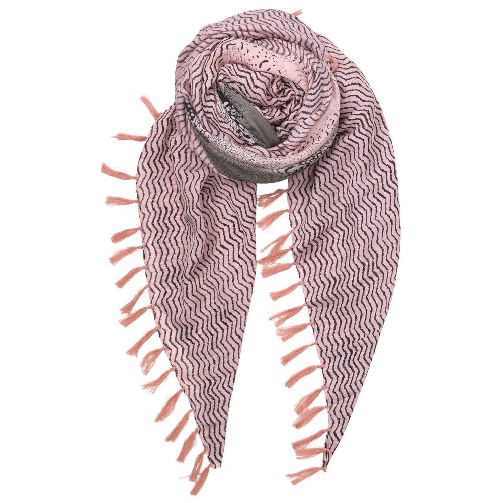 Detailed Snake Scarf - Rose