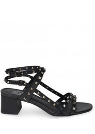 Ash Iman Block Heel Sandal - Black & Gold