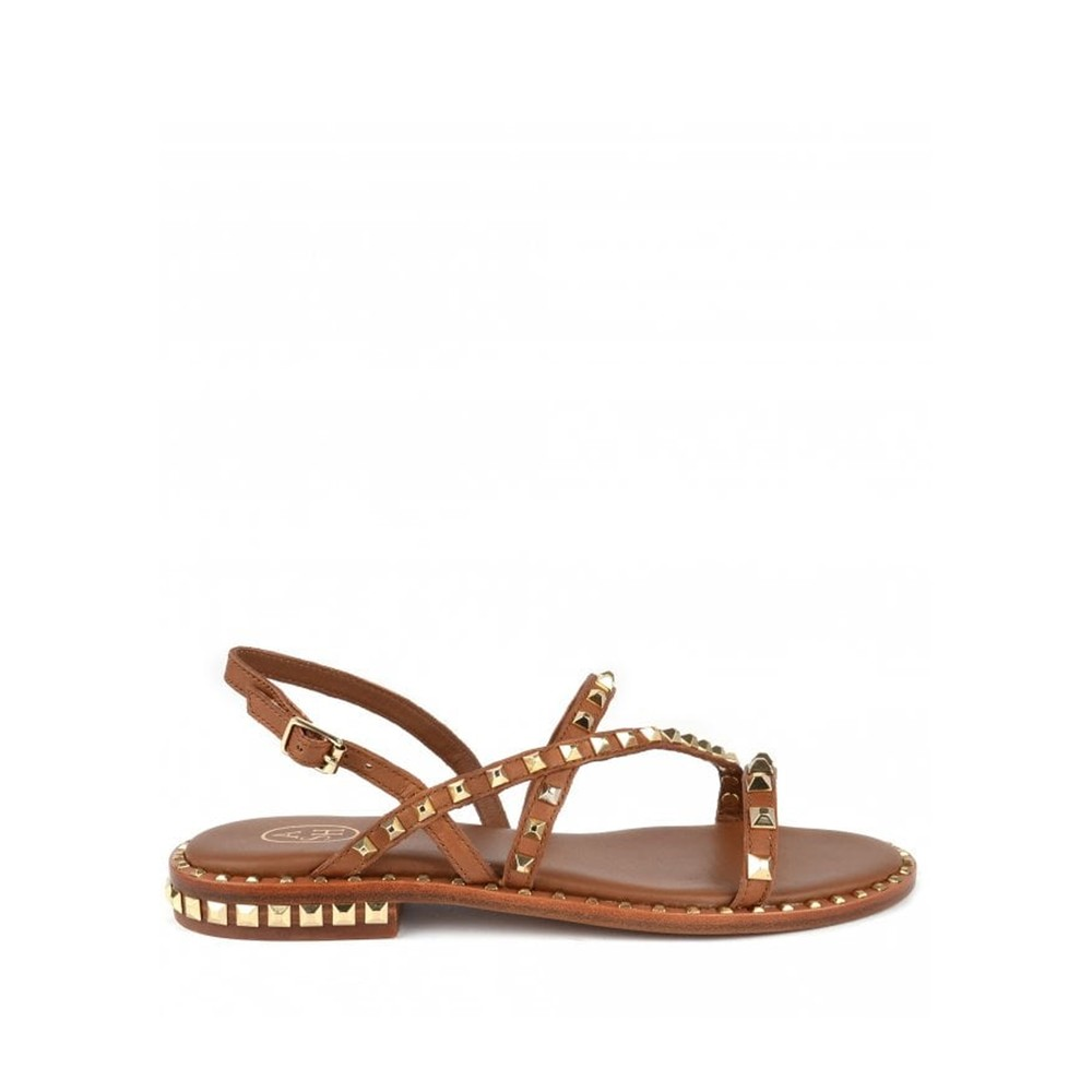Peace Studded Sandals in Brown & Gold