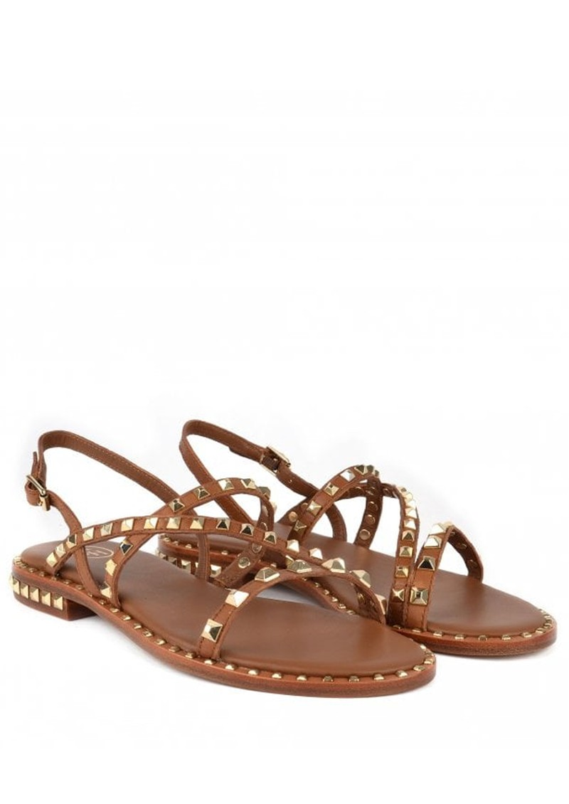 Peace Studded Sandals in Brown & Gold main image