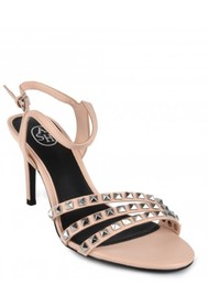 Ash Hello Studded Heeled Sandal - New Powder & Silver