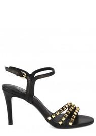 Ash Hello Studded Heeled Sandal - Black & Gold