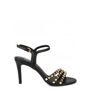 Hello Studded Heeled Sandal - Black & Gold
